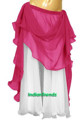 Deep Pink & White 2 Color 2 Layer Reversible Skirt Full Circle Belly Dance