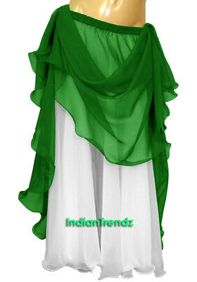 Emerald Green & White 2 Color 2 Layer Reversible Skirt Full Circle Belly Dance