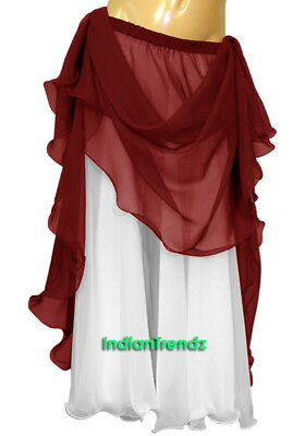 Maroon & White 2 Color 2 Layer Reversible Skirt Full Circle Belly Dance Double