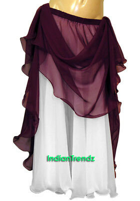 Purple & White 2 Color 2 Layer Reversible Skirt Full Circle Belly Dance Double