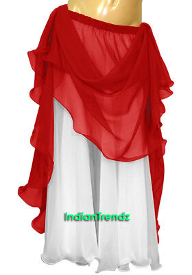 Red & White 2 Color 2 Layer Reversible Skirt Full Circle Belly Dance Double