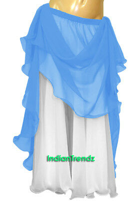 Steal Blue & White 2 Color 2 Layer Reversible Skirt Full Circle Belly Dance