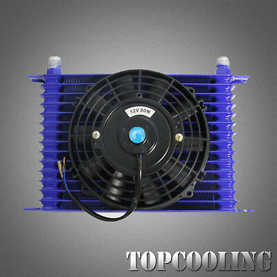 """Universal Engine Transmission Oil Cooler 15 Row AN10 Blue + 7"""" Electric Fan"""