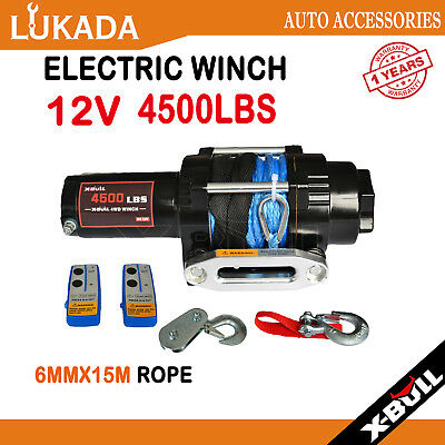 X-BULL Electric Winch 12V 4500LBS/2041kg Wireless Synthetic Rope 2 Remote ATV