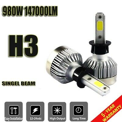 LED Headlight Kit H3 980W White High Power 6500K 147000LM Low Beam Car Bulb
