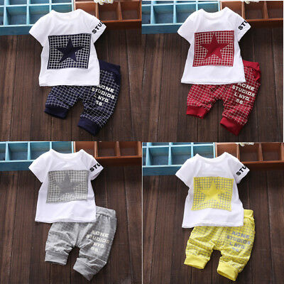 Baby Boy Girls Kid Newborn Cotton T-shirt Tops+Pants Outfit Clothes Set US Stock