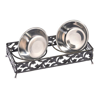 Pet Double Diner Stand Bowl Raised Dog Cat Elevated Stand Feeder + 2 Steel Bowls