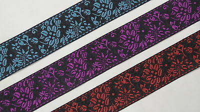 "5.08 Cm 02/"" wide By The Yard Jacquard Trim Woven Border Sew Ribbon T866"
