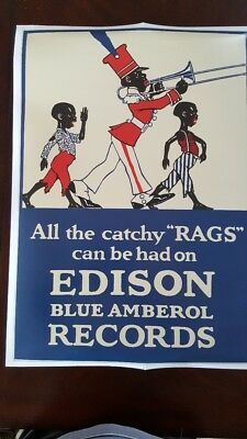 Edison Cylinder Record Advertising Poster