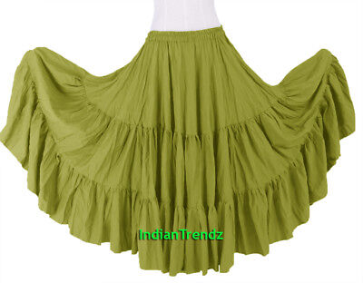 Lime Green 100% Cotton 10 Yard 3 Tiered Gypsy Skirt Belly Dance Flamenco Soft
