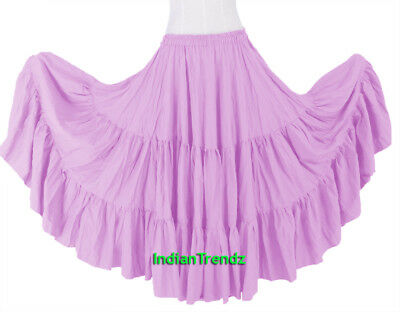 Orchid 100% Cotton 10 Yard 3 Tiered Gypsy Skirt Belly Dance Flamenco Soft