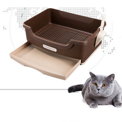 L Cat Pet Toilet Litter Box Tray Portable Hooded Cat Kitty Toilet Double-deck