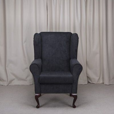 High Wing Back Fireside Chair Black Topaz Fabric Seat Easy Armchair Queen Anne