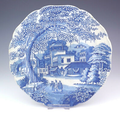 Antique English Pearlware Pottery Blue & White Oriental Scene Transferware Plate