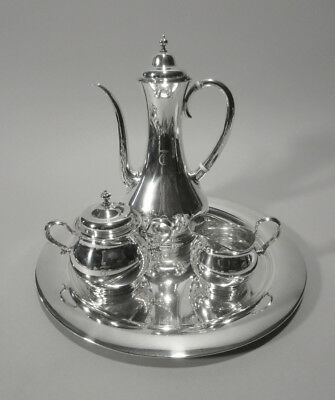4 Piece Art Nouveau Tiffany Sterling After Dinner Coffee or Espresso Set