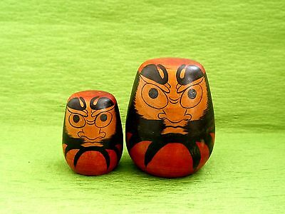 Craftsman of the Woman Japanese Antique Wooden DARUMA by Kinu Asakura Lot of 2