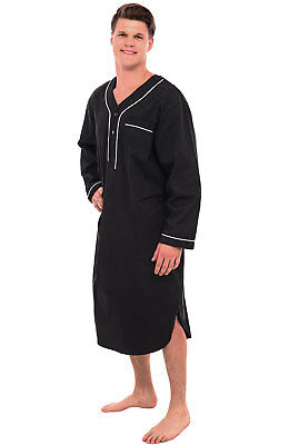 Alexander Del Rossa Mens Black Cotton Nightshirt Long Lightweight Woven Kaftan
