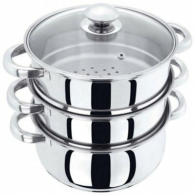 Judge 20cm 3 Tier Steamer Pan Stainless Steel Multipot/Steamer Glass Lid