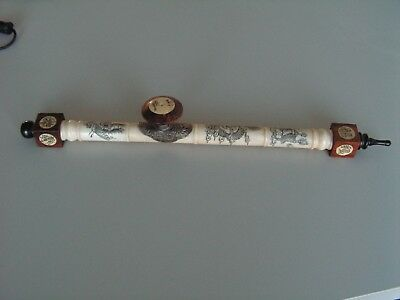 vintage antique chinese pipe carved sign dragon