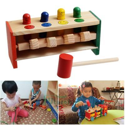 Wooden Hammering Bench Children Toddlers Toy Hammer Coloured Wood Pegs Game USA