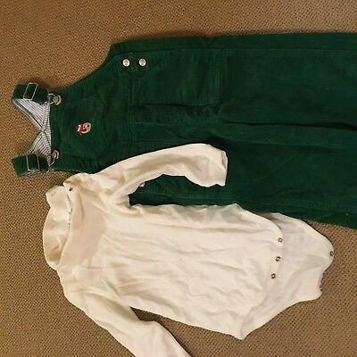 Talbots Kids Green Corduroy Overalls with snowman and White turtleneck size 24m