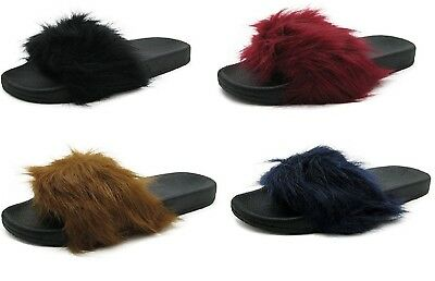 P26 Womens Flip Flop Sandals Faux Fur Slides Slippers
