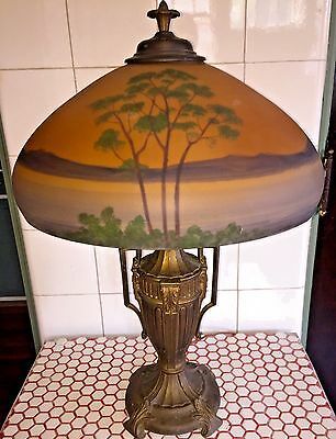 Vintage 1920s Reverse Painted Glass Lake Forest Shade Bronze Classical Urn Lamp