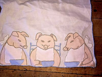 Vintage 1940s 1950s Madiera Appliqued 3 Little Pigs Blue Linen Bib
