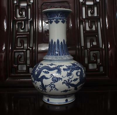 """Old Rare Blue and White Chinese Porcelain Dragon Vase Qianlong MK H15"""""""