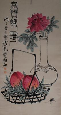 Chinese Old Qi Baishi Scroll Painting Peaches Peony 73""