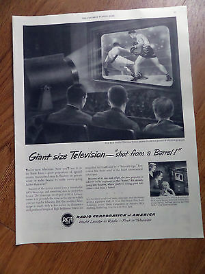 1950 RCA Ad Giant Size Television Shot from a Barrel  The Kinescope