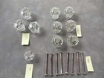 10 ASSORTED GLASS KNOBS with SOME SCREWS