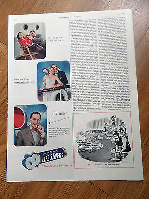 1947 Life Savers Candy Ad Pep O Mint   Coupel on a Cruise