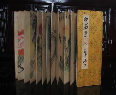 Chinese Old Qi Baishi Woodcut Scroll Album Book Painting Flowers 106""
