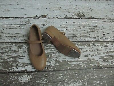 Bloch Tan Leather Mary Jane Buckle Tap Shoes Youth Girls Size 13 *READ*
