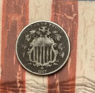 1867 5C Shield Nickel Vintage US Copper Coin #MP112 Very Sharp Appeal