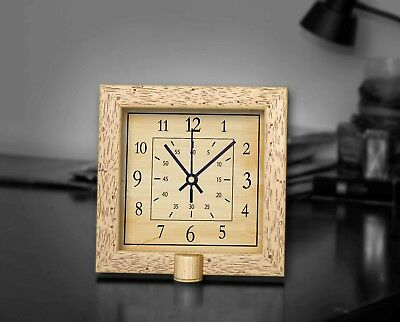 """12 Hours Sepia Classic Wooden Square Clock 8"""" Non-Ticking Silent Wall/Desk Clock"""
