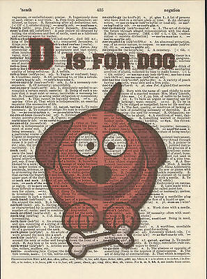 D is for Dog w/ Bone Alphabet Altered Art Print Upcycled Vintage Dictionary Page