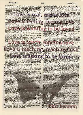 Love is Real John Lennon Altered Art Print Upcycled Vintage Dictionary Page