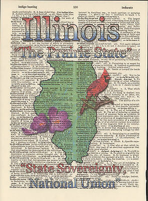 Illinois State Map Symbols Altered Art Print Upcycled Vintage Dictionary Page