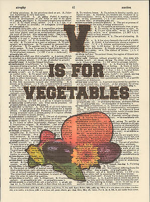 V is Vegetables Alphabet Altered Art Print Upcycled Vintage Dictionary Page