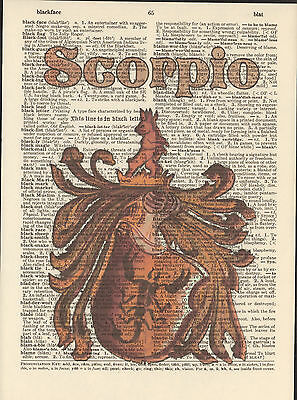 Zodiac Sign Scorpio Astrology Altered Art Print Upcycled Vintage Dictionary Page
