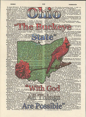 Ohio State Map Symbols Altered Art Print Upcycled Vintage Dictionary Page