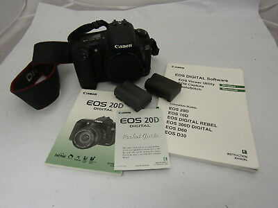 Canon EOS 20D Digital Camera DS126061 Body Only w/ 2 Batteries & Manual Bundle