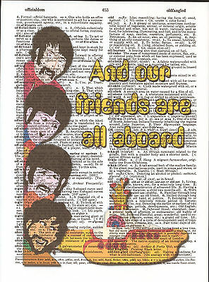 Yellow Submarine Beatles Altered Art Print Upcycled Vintage Dictionary Page