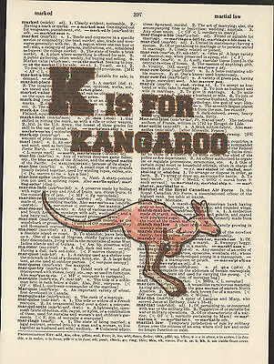 K is for Kangaroo Alphabet Altered Art Print Upcycled Vintage Dictionary Page