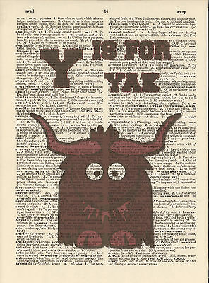 Y is for Yak Alphabet Altered Art Print Upcycled Vintage Dictionary Page