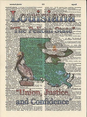 Louisiana State Map Symbols Altered Art Print Upcycled Vintage Dictionary Page