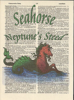 Seahorse Neptune's Steed Altered Art Print Upcycled Vintage Dictionary Page