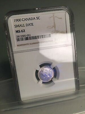 "1900 Canadian Silver 5 cents ""small date"" NGC MS 62"